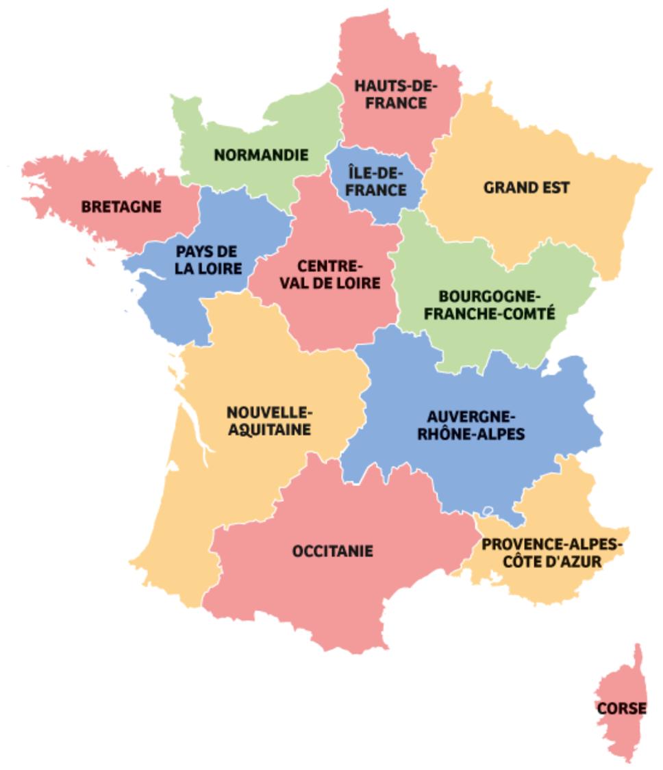 Carte de la France par régions